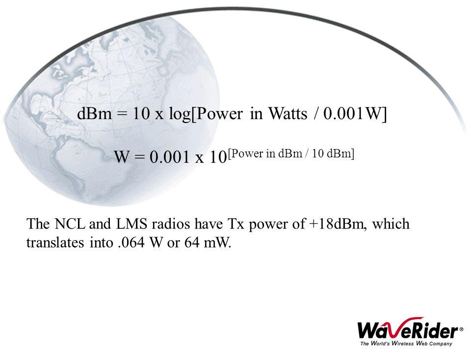dBm = 10 x log[Power in Watts / 0.001W]